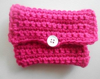 Crochet Coin Purse Money Holder Hot Pink
