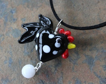 Black & White Polka Dot Chicken and Egg Microsuede and Lampwork Glass Necklace -Other color roosters available too - Free Shipping USA