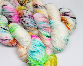 Hand Dyed Speckled Sock Yarn - SW Sock 80/20 - Superwash Merino Nylon - 400 yards - Shock Star
