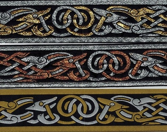 Celtic Zoomorphic Trim Celtic Beastie, Other This listing is for 1 yard. Trim is 2 inches Wide. Viking, Medieval, SCA Fabric Trim