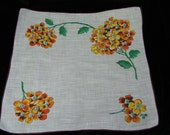 Vintage 1960's Yellow, Rust, Brown Floral Wedding Handkerchief or Doily, 9702