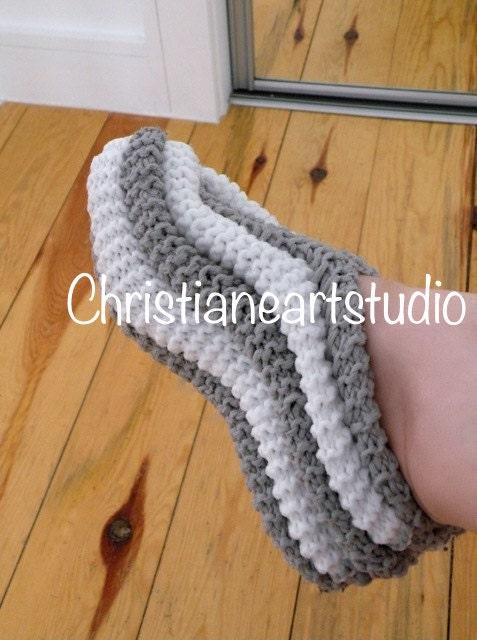 Free Crochet Phentex Slipper Pattern : Phentex zapatos de casa gris mano zapatillas de punto para