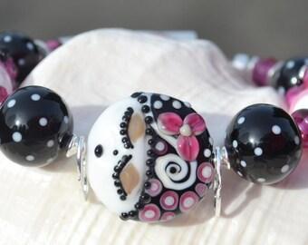 OOH LA LA-Handmade Lampwork and Sterling Silver Bracelet