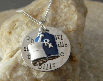 Pharm Girl Slinging pills to pay the bills RX Handstamped Necklace