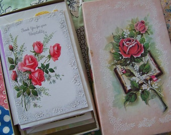 Box of Vintage Greeting Cards Birthday Baby Get Well Thank You 32 in All