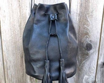 Black Leather Cross Body Bucket Bag with Tassels Handmade
