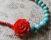 Crimson Red Rose & Turquoise Necklace