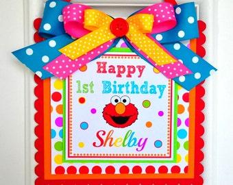 Elmo Door Sign, Elmo Birthday Party, Girl Elmo Welcome Door Sign, Elmo Door Hanger