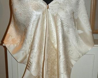 Silk Kimono Fabric Scarf/Shawl/Wrap/Shrug..Crane..Long Island Bridal/Wedding Gift/Chrysanthemum/Cherry Blossom..Clutch/Purse/Bag Ivory/Cream
