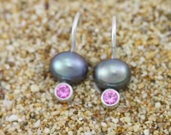 Peacock Pearl Drop Earrings w-Stone (Pink Tourmaline) in Sterling Silver