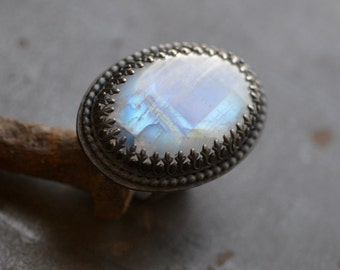 Rainbow moonstone ring in dark sterling silver, size 7, labradorite statement ring