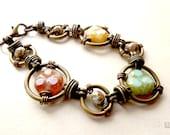 Convertible bracelet or necklace with wired links, Czech glass beads
