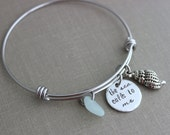the sea calls to me, stainless steel adjustable beach bangle bracelet, silver pewter shell charm, genuine sea glass  in choice of color
