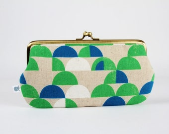 Frame purse with two sections - Camping canvas - Wowlet / Kisslock wallet / Japanese fabric / retro mod / green blue white