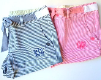 Monogrammed Preppy Striped Shorts with Bow Tie