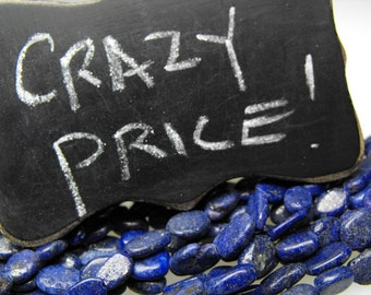 LAPIS LAZULI BEADS 00368 genuine precious gemstone smooth polished oval vivid blue pyrite sparkles whole strand on sale discount parcel