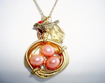 Lovely Bird Nest/Charms Pendant & Goldtone Necklace