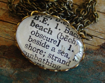 Beach Necklace, READY TO SHIP, Surfer Necklace, Teen Gift, Beach Lover, Friend Gift, Girlfriend Gift, Word Necklace, Dictionary Necklace