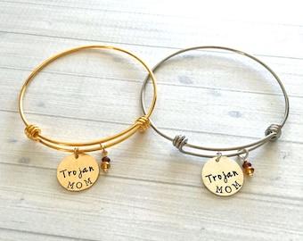 Trojan Mom Bracelet - Trojan Mom Jewelry - Trojan Gift - Trojan Jewelry