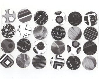 Black and White Assorted Envelope Seals Stickers (24) 1 inch