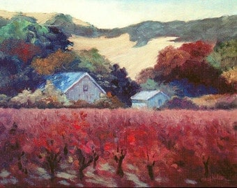 Autumn Vineyard, California Sonoma Valley Fall Vineyard, Art Print, Vineyard Barn, Fall Grape Vines, Colorful Fall Landscape, Oak Trees, 6x8