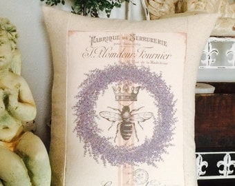 French Lavender Wreath Queen Bee Grain Sack Throw Pillow,  French Script Grainsack Pillow , French Country Throw Pillow,  Cottage Pillow