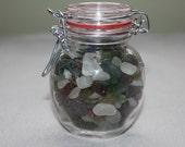 AWESOME BEACHGLASS In A Bottle 250  beach glass babies Displayed in small Mason Jar type bottle Genuine Beachglass Beautiful beachglass gift