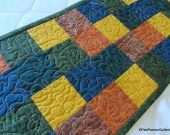Scappy Fall Quilted Table Runner, Quilted Fall Table Runner, Quilted Patchwork Fall Table Runner