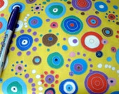 5 yards or 10 yards Fun Quilting Cotton Multi colored Yellow or brown yellow purple  circles 43 to 44 in 2 dollars a yard