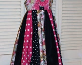 Pink and Black Paris Themed Sundress in Size 8