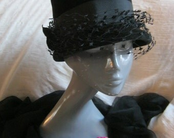 Vintage high  fashion black hat with netting, high dome black Peachbloom Velour hat, Merrimac imported fur domed black hat, Mad Men hat