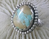Royston Ribbon Turquoise Ring, Boulder Turquoise Ring, Gemstone Sterling Silver Ring, Size 7.25