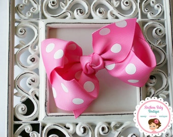 SUMMER SALE---Boutique Baby Girl Hair Bow Clip---Hot Pink Polka Dot----