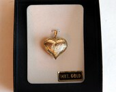RESERVED for Natalie Vintage 14K Yellow Gold Jacmel Mauritius Puffy Heart Pendant - JCM Signed Textured Heart - Jacmel Jewelry Inc.