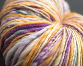 Pansy, HandSpun and Hand dyed Yarn, Targhee Wool, worsted, Single, 190 yards