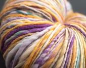 Pansy, HandSpun and Hand dyed Yarn, Targhee Wool, worsted, Single, 190 yards