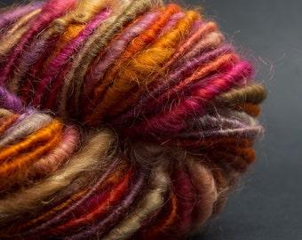 Rouge: handspun corespun yarn cotswold wool, bulky, 38 yards / hand painted hand dyed handpainted hand spun