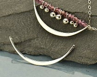 Sterling Silver Crescent Link Connector, 925 Silver,  31x15=3mm Thickness 2.5mm