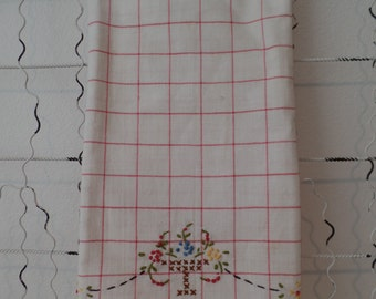 Vintage Embroidered Cotton Dish Towel