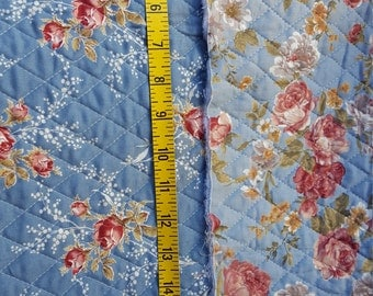 Country Blue with Roses Double Quilted Fabric almost 1yd