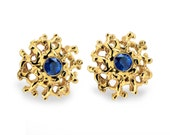 CORAL 14K Gold Earrings Posts Medium with Blue Topaz, RESERVED for Paul