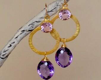 Amethyst Earrings. February Birthstone. Deep Purple Gemstone Earrings. Kunzite Earrings.  Circle Mixed Metal Earrings. Luxury Fine Jewelry.