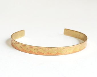 Etched Brass Cuff, Copper Plated Brass Cuff, Heart Bracelet - Free Domestic Shipping