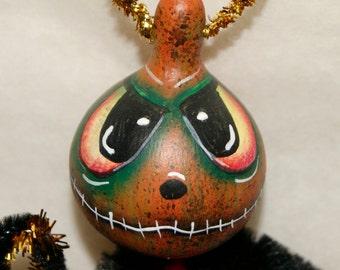 Gourd Ornament OOAK Orange Jol  Haunted Halloween Ornaments (A 33)