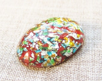 25x18mm Vintage Dark Red Confetti Harlequin Opal Glass Cabochons (3)