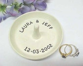 Custom Ring Dish, Personalized Ring Holder, Ceramic Dish with Names, MADE to ORDER Engagement Gift, Bride Groom Name Date, Anitas Pottery