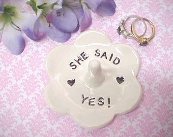 Engagement Ring Dish - She Said Yes! - Wedding Ring Holder - Jewelry Storage - Gift for Her - Anita Pottery