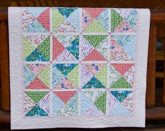 Quilt Baby Toddler Children Nursery Bedding Crib Sundaland Jungle Blend Teal Pink Triangles Scrappy Patchwork Modern