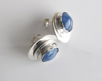 Blue Stone Studs, Round Kyanite Cabs Set on Sterling Silver, Sterling Posts