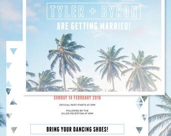 Palm Springs Coastal Beach Wedding Invitations • Ready to Post Printable • Palm Trees, Beach, Modern Design